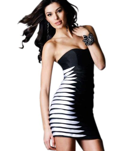 Clarisse Short Strapless Shantung Cocktail Dress 1414, Black/White, 4