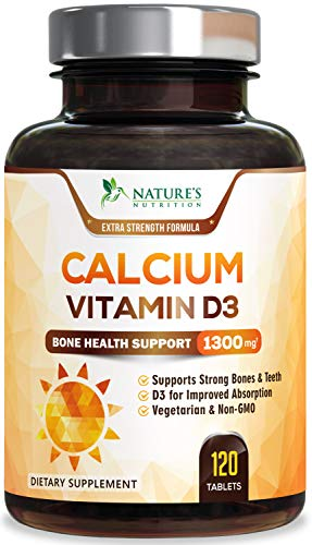 Calcium Supplement with Vitamin D3 Extra Strength 1300mg - Calcium Carbonate to Support Osteoporosis, Bones & Strong Teeth, Highly Absorbable Pills for Men & Women, Made in USA - 120 Tablets
