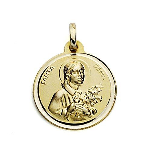 Médaille pendentif De Santa Gema 18mm or 18k. chanfrein [7574GR] - personnalisable - ENREGISTREMENT inclus dans le prix