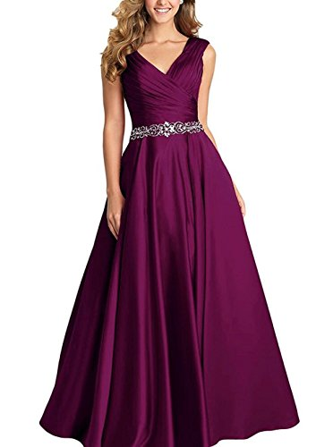 (Beading A-Line Formal Evening Dress Maxi Bridesmaid Gown Sleeveless Grape Size 16)