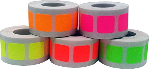 "3/4"" Color Coding Labels - Fluorescent Bulk Pack - .75 Square Stickers - One Roll Each Flourescent Red, Fluorescent Yellow, Fluorescent Green, Fluorescent Pink, Fluorescent Orange - 500 Per Color - 2,500 Total Stickers"