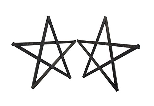 Wood Decorative Plaques Set Of 2 Rustic Dark Gray Weathered Wood Stars 20 In. 20 X 20 X 2 Inches Gray - Pentacle Wall