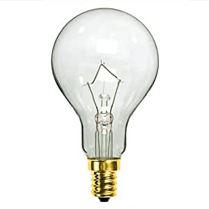 60 Watt A15 Clear Ceiling Fan Bulb Candelabra Base 1500 Life Hours 700 Lumens 130