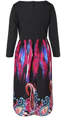 Coolred Print Stitching Long Oversized Black Dress Women Waist Smocked Fashion rBwrxq