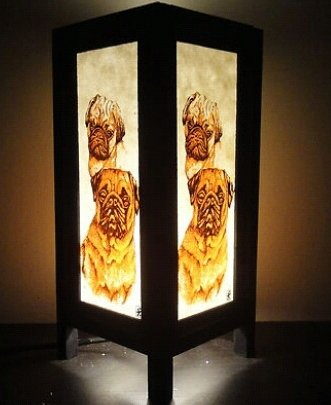Thai Vintage Handmade ASIAN Oriental Collectible Pet Pug Dog Lover Gifts Bedside or Table Lamp Shades by Thai Decorated