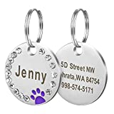 Didog Stainless Steel Custom Engraved Pet ID Tags,Round Crystal Rhinestones Tags with Pretty