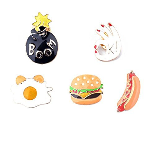 Fun Daisy 5Pcs Charm Bomb Dice Cartoon Shirt Collar Badge Brooch Pin Hamburger Pizza Hot Dogs