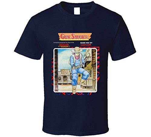 Gun Smoke Nes Retro Video Game T Shirt M Navy