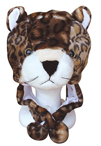 Choose From Over 25 Animals! - Plush Faux Fur Animal Critter Hat Cap - Soft Warm Winter Headwear - Short with Ear Poms and Flaps & Long with Scarf and Mittens Available (Short Leopard)