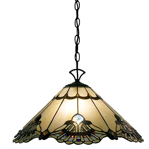 Whse of Tiffany NSC201072-1H Tiffany-Style Warehouse of Tiffany Courtesan Hanging Lamp by Whse of Tiffany