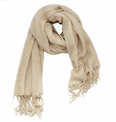Soophen Pashmina Scarf Beautiful Solid Colors - Beige (Beautiful Lightweight Scarf)