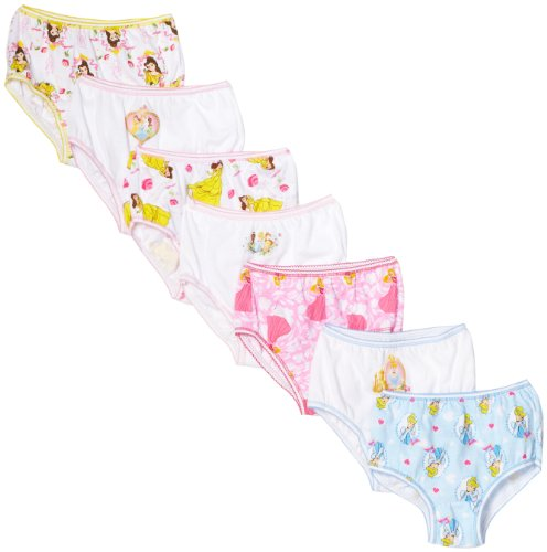 Disney Little Girls'  Disney Princess 7 Pack Underwear, Multi, 2T/3T