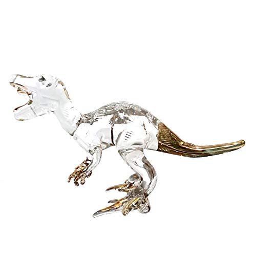 Sansukjai Rare T-rex Tyrannosaurus Dinosaur Figurines Hand Blown Clear Glass Art 22K Gold Trim Animals Collectible Gift Home Decor -