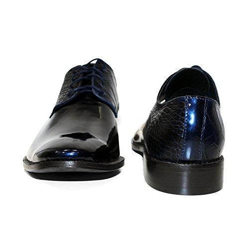PeppeShoes Modello Sapphire - Handmade Italiennes Cuir Pour des Hommes Bleu Marine Chaussures Oxfords - Cuir de Vachette Cuir Verni - Lacer