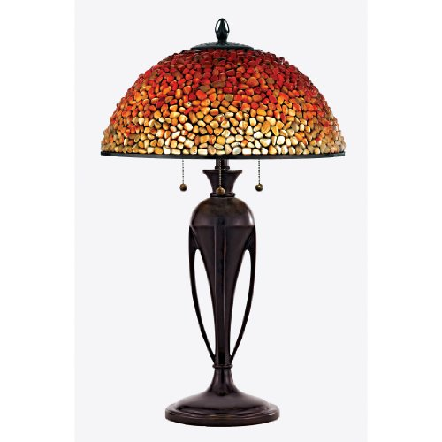 Quoizel TF135TBC Traditional 3-Light Pomez Table Lamp, Small, Burnt Cinnamon