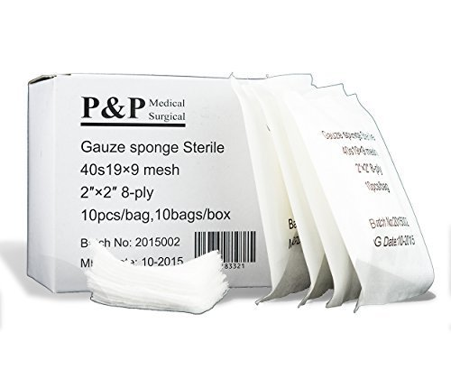 Gauze Surgical Sponges Cotton STERILE Non Woven 8-ply High Grade Quality 2''x2'' Class I(a) All Purpose Pads Box of 2000 by P&P Medical Surgical