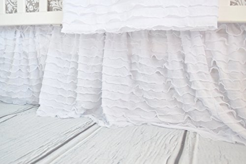 White Crib Skirt for Baby Girl Nursery Bedding Dust Ruffle