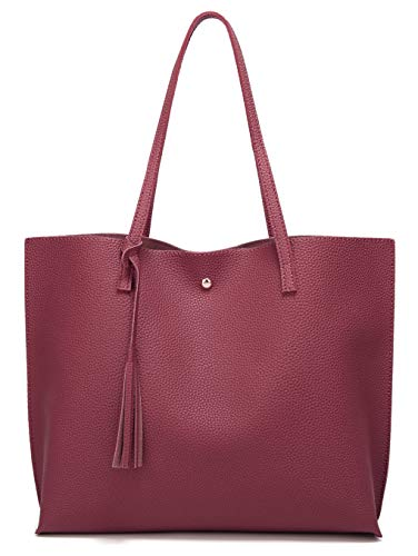Women's Soft Leather Tote Shoulder Bag from Dreubea, Big Capacity Tassel Handbag Purplish Red (Bag Leather Shoulder Tote)