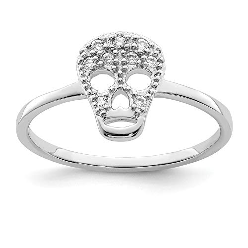 925 Sterling Silver Cubic Zirconia Cz Skull Band Ring Size 6.00 Fine Jewelry Gifts For Women For Her