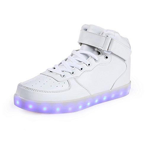 SAGUARO® 7 Farbe USB Aufladen LED Leuchtend Sport Schuhe Sportschuhe Sneaker Turnschuhe für Unisex-Kinder Jungen Mädchen Weiß