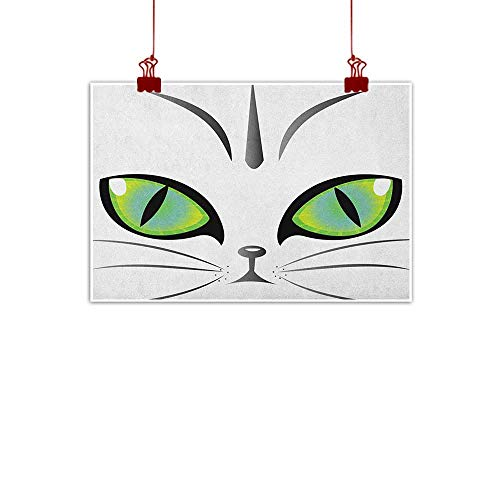 Artwork Office Home Decoration Eye,Face of an Adorable Siberian Cat Green Eyes and Whiskers Watchful Animal, Yellow Green Grey Black 20