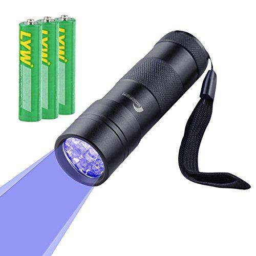 Moobom Taschenlampe mit UV-Licht / Schwarzlicht, macht Tierurin sichtbar, 12LEDs, 1Stück