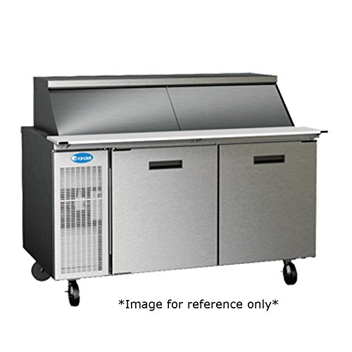 Randell 9272W High Heat Refrigerated Mega Top Breading Table 72 inchL with (2) Door & (15) 1/3 Size Pan Capacity