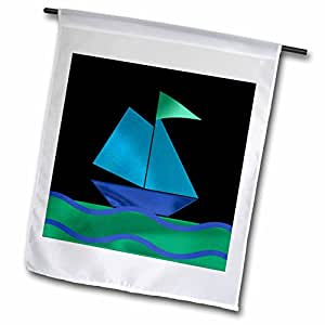 Beverly Turner Design - Sail Boat, Blue on Black - 12 x 18 inch Garden Flag (fl_58471_1)