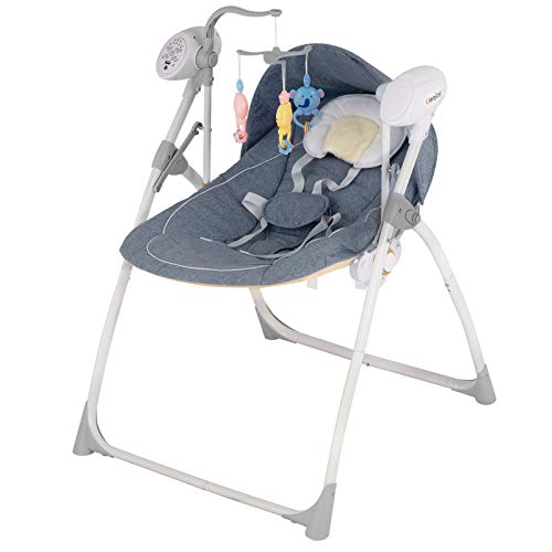 Uenjoy Baby Portable Swing Electric Rocking Cradle Bed Crib Bassinet with RC Remote Control, 5 Swing Speeds, Bluetooth, Timer, Music, Grey