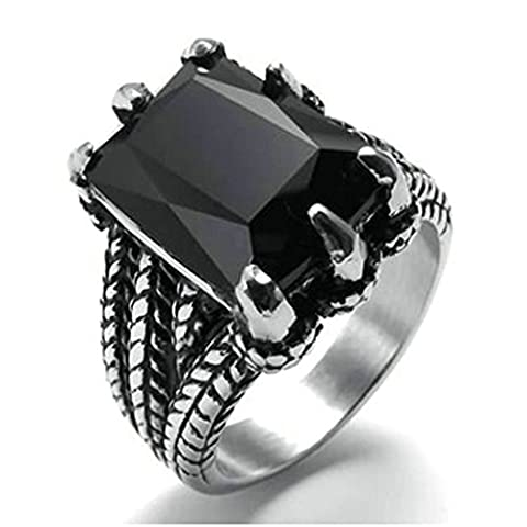 Gnzoe Men Stainless Steel Ring, Square Onyx Faceted Crystal Dragon Claw Rings, Black, Size 10