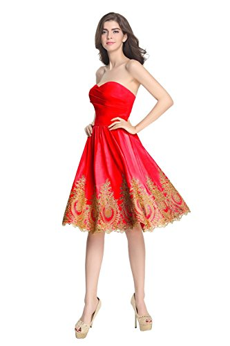 Red A Dress Dress Evening Bridesmaid Prom Women's Bridal Short line Strapless Annie's w6PgaP