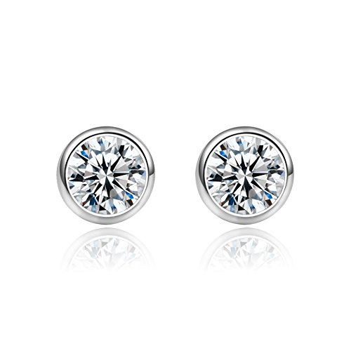 18g 316l Surgical Steel Round Cubic Zirconia Cartilage Helix Piercing Barbell stud Earrings 2 Pieces