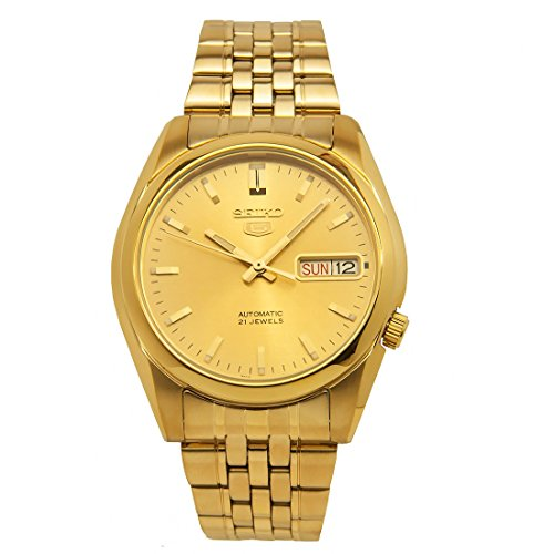Seiko Men's SNK366K Seiko 5 Automatic Gold Dial Gold-Tone Stainless Steel Watch ()