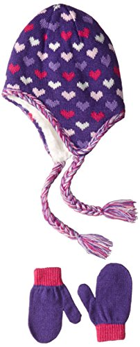 Toby & Company Big Girls' Heart Jacquard with Faux Fur Accents, Purple, One Size