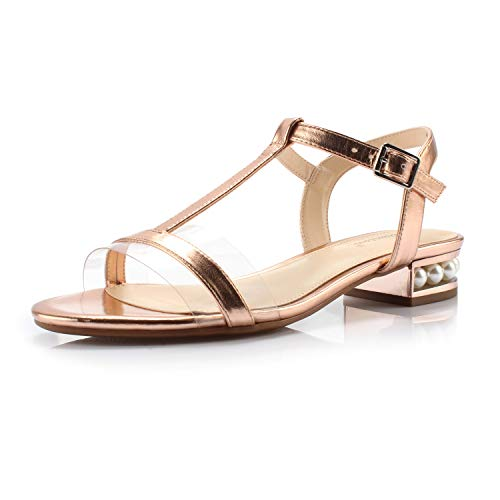 DUNION Women's Candy Pearl Embellished Low Block Heel Sandal Wedding Office Party Daily Comfort Dress Shoe,Rose Gold,6.5 M ()