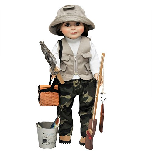 """Fishing Outdoor Adventure 18"""" Doll Clothes Outfit and Amazing Accessories! Perfect for American Girl! Includes Incredibly Detailed Pants, Vest, Shirt, Hat, Pole, Fish, Bucket, Net, Creel ()"""