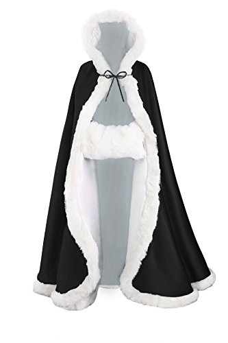 [BEAUTELICATE Women's Bridal Cape Wedding Cloak With Fur Floor length Black] (Black And White Cape)