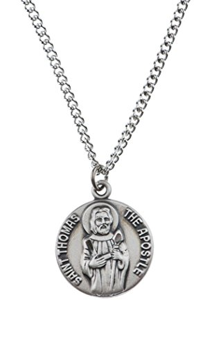 Sterling Silver Saint St Thomas the Apostle Dime Size Medal Pendant, 3/4 Inch