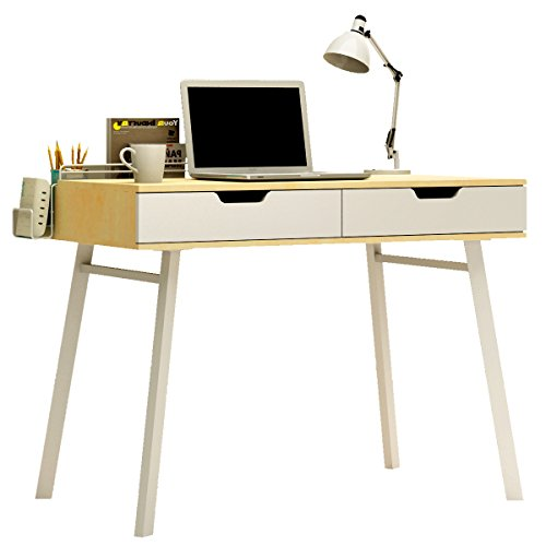 Creatwo Computer Desk Concise style Wood Desk 2 Drawers Writing Desk Office Desk for Home and Office, Beige by Creatwo