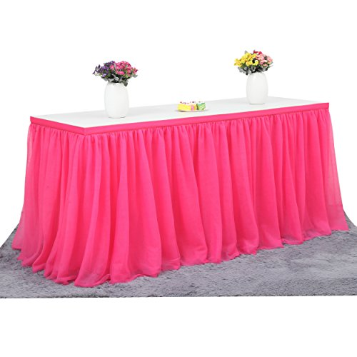 Suppromo 2 Yards High-end Gold Brim 3 Layer Mesh Fluffy Tutu Table Skirt Tulle Tableware For Party,Wedding,Birthday Party&Home Decoration,Table Skirting (L6(ft) H 30in, Rose) - Pink Rose Table