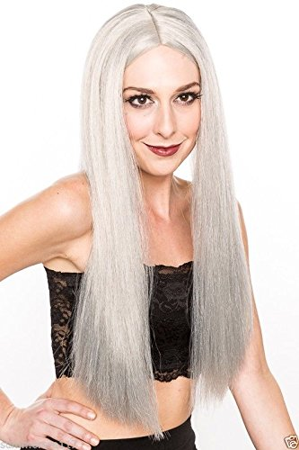 Halloween Cosplay Vampire Super Hero Medieval Godlike Witch Straight Long Grey Sorcerer Party Wig H0001G]()