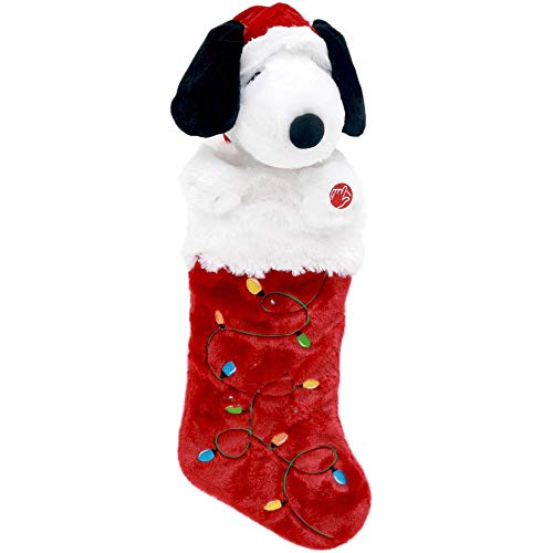 Peanuts Snoopy in Santa Hat Plush Musical Light Up Stocking - Plays
