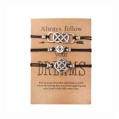17mile 3Pcs Black Friendship Cotton Rope Bracelet Set Handmade Compass Celtic Knot Bead Adjustable with Wish Card Charm Bracelets Jewelry