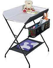 COSTWAY Multifunctionele baby luiertafel, opvouwbare luiertafel met grote opbergruimte, luiertafel met stevige ijzeren pijp en waterdichte 600D stof