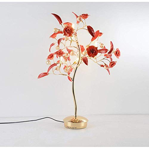 Europe,Modern,Rose LED Table Lamp,Rose Bouquet LED Night Light with Handmade Rose Flower from Porcelain and K9 Crystal for Bedroom, Living Room, Decoration, Red Desk Lamps