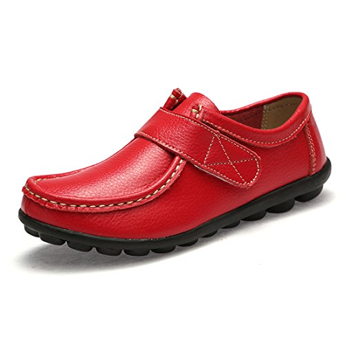 Z.SUO Womens Leather Loafers Flats Casual Round Toe Moccasins Wild Breathable Driving Shoes Red