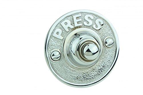 Doorbell Chrome (Door Bell Chrome Embossed PRESS Round Bell | Renovator's Supply)