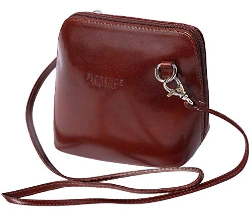 JAENIS NICHOLE-Crossbody Bags for Women, Polished Dome Shoulder Bags, Small Purse in Italian Leather- Dalida (Small, Brown)