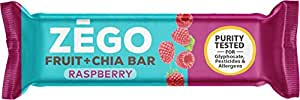 ZEGO Fruit + Chia Bars, Raspberry, Non GMO, Vegan, Gluten Free, Low Glycemic, 25g (Pack of 12)