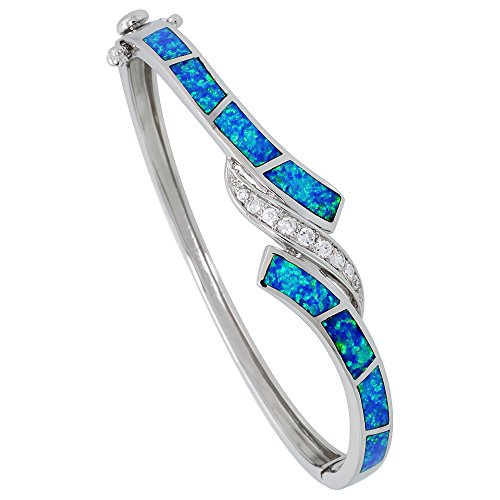 Sterling Silver Synthetic Opal Bangle Bracelet for Women Quality CZ accent 3/8 inch wide